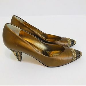 VERSANI shoes bronze slip on ribbon accent Size 7